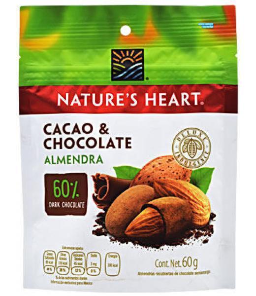 ALMENDRA CUBIERTA DE CACAO Y CHOCOLATE 60 G NATURES HEART