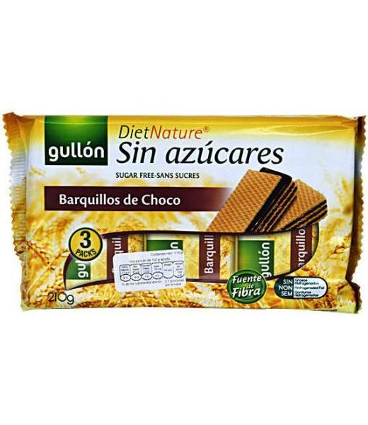 BARQUILLOS DE CHOCOLATE SIN AZUCAR 210 G GULLON