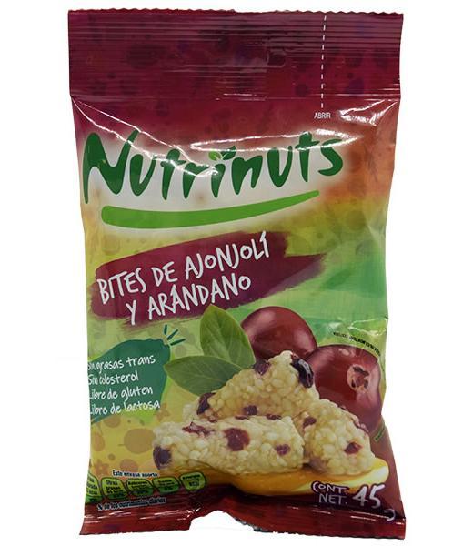 BITES DE AJONJOLI CON ARANDANO Y AMARANTO 45 G NUTRINUTS