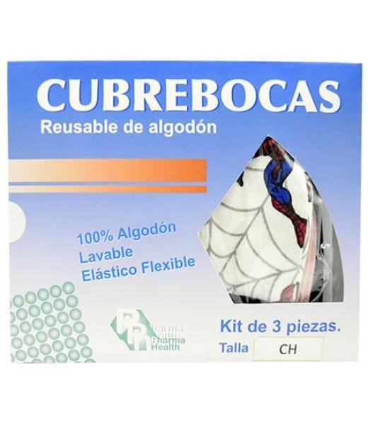 CUBRE BOCAS ALDOGON REUSABLE CHICO 3 PZAS PHARMAHEALTH