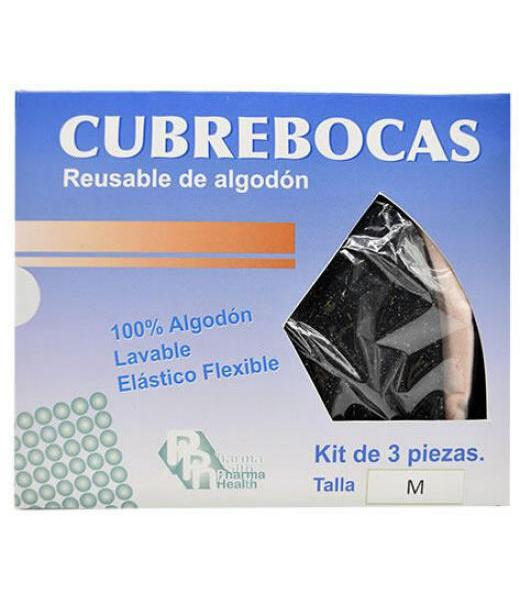 CUBRE BOCAS ALDOGON REUSABLE MEDIANO 3 PZAS PHARMAHEALTH