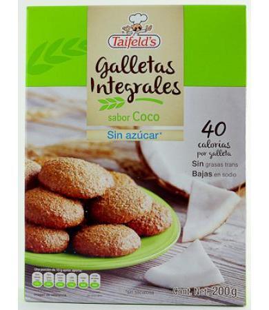 GALLETAS INTEGRALES SABOR COCO 200 G TAIFELD S