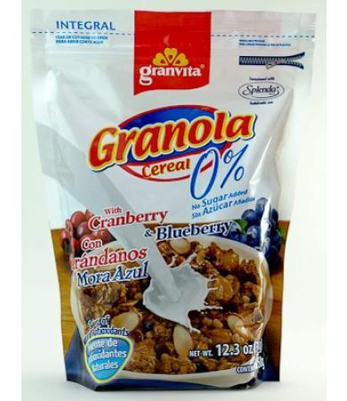 GRANOLA 0% AZUCAR CON ARANDANOS 350 G GRANVITA