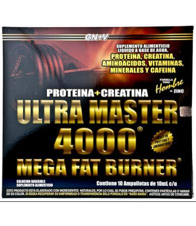 ULTRA MASTER 4000 MEGA FAT BURNER HOMBRE AMP 10 X 10 ML