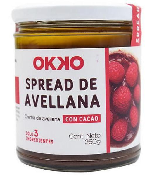 UNTABLE DE AVELLENA CON CACAO 260 G OKKO