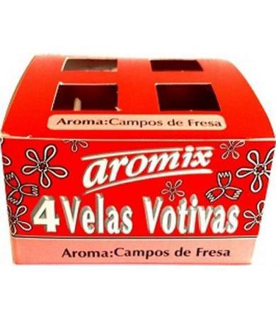 VELAS VOTIVAS CAMPOS DE FRESA 4 PZAS AROMIX