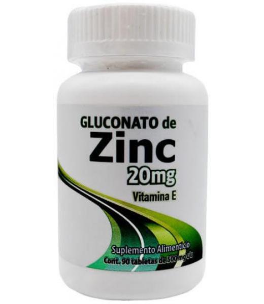 ZINC GLUCONATO 500 MG 90 TAB DOS MUNDOS